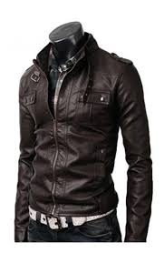 strap pocket dark brown mens slim fitted leather jacket