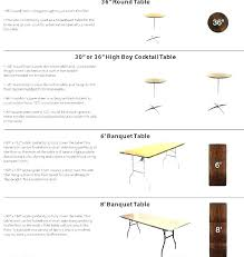 standard rectangle table size banquet dimensions in cm patio