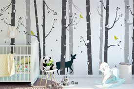 large set deer and birch tree wall