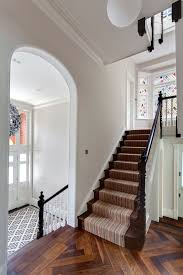 Industrial carpet tiles staircase victorian with white balusterade