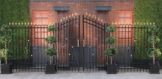wrought iron privacy fence. 20\u0027 Black Wrought Iron Gates With Right/Left Panels Privacy Fence
