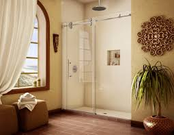 warm traditional bathroom with frameless glass shower doors and window treatment