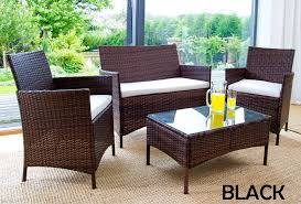 rattan garden furniture 4 piece set uv treated and fade resistant black
