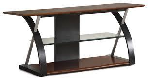 modern futuristic entertainment center tv stand console media glass shelf brown