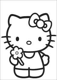 Kitty Heeft Een Bloem Geplukt Kleurplaat Tekening Kleurplaten