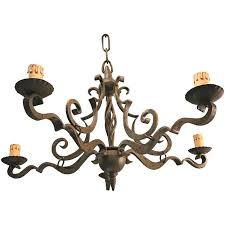 early 1900 thick heavy hand forged wrought iron quality pendant chandelier for
