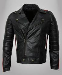 lapel style collar mens black with red and white strips classic biker leather jacket