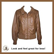 casual luxury tan pleather jacket with zip opening