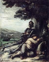 don quixote and sancho pansa having a rest under a tree c 1855