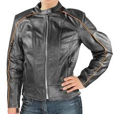 xelement armored womens black leather orange pinstripe sdster motorcycle jacket images large xs1901 jacket 1 jpg jsessionid