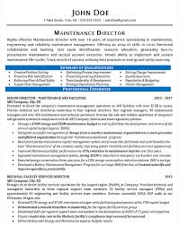 Maintenance Resume Example Maintenance Director Manager Impressive Maintenance Qualifications Resume