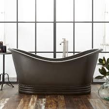 paige hammered copper double slipper tub dark antique green