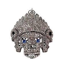 sapphire gemstone 3 48 ct diamond pave skull pendant 925 sterling silver jewelry manufacturer eerra com