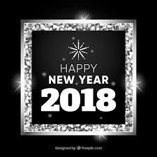 happy new year in a silver frame free vector