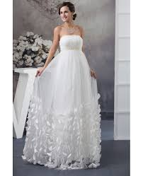 strapless beaded pearls tulle maternity wedding dress with petals