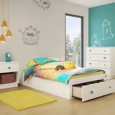 SouthShore Little Monsters 3 Piece Bedroom Set - Little Monsters Twin Mates Bed, 4 Drawer Chest and Nightstand in Pure White