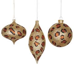 Safari Glitzy Cheetah Christmas Ornaments, Set of 3, Gold Copper and Black  contemporary-