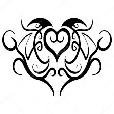 Abstraktní Srdce Kmenových Tetování Design Vektor Stock Vektor
