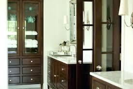 bathroom cabinet glass doors dark brown freestanding linen cabinet with glass doors bathroom floor cabinet with