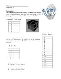 Perfect Cubes Chart Roots Target Range School