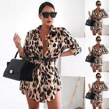2019 <b>S XL Women V Neck</b> Shirt Dress Fashion Leopard Print Party ...
