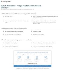 Quiz Worksheet Hedge Fund Characteristics Structure Study Com