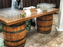wine barrell furniture. Plain Barrell Wine Barrel Bar Our 7u0027 Long Wine Barrel Bar Is A Great Accent Piece For  Your Party Or Wedding Cocktail Tables With Barrell Furniture