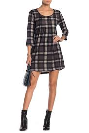Plaid Scoop Neck Sweater Dress