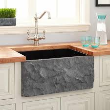 24 polished granite farmhouse sink with chiseled a black
