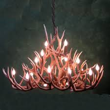 one other image of deer horn chandelier
