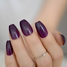 Acrylic Nail Designs Purple Us 0 91 23 Off 24pcs Shiny Candy Grape Purple Acrylic Nail Art Coffin Design Medium Women Fake Press On Nails Diy Salon Tips Without Glue 712b In