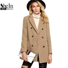 shein pea coat womens autumn coat women double ted overcoat for women lapel long sleeve camel coat with welt pocket