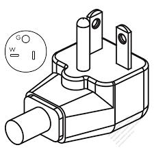 Usa canada nema 5 20p elbow ac plug 2 p 3 wire