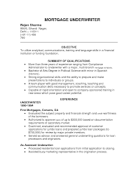 Mortgage Underwriter Resume Template Sample Job And Pos Sevte