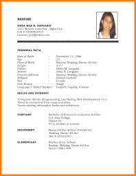 Example Of Resume Format For Job Sample Resume Format Forb Pdf Application Philippines Magnificent 13
