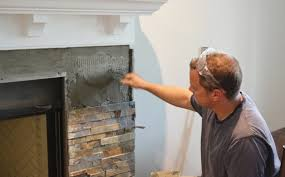 diy stone tile fireplace stone installers