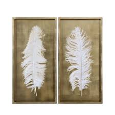 white feathers white feathers wall art gold  on gold leaf feather wall art with white feathers wall art gold modern uttermost 4057