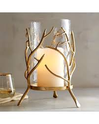 Gold Branch Hurricane Candle Holder