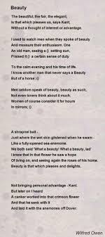 wilfred owen essay ideas and attitudes in wilfred owen s disabled  beauty poem by wilfred owen poem hunter
