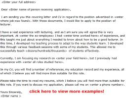 Cover Letter For Application Of Lecturer Adriangatton Com