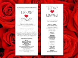 diy wedding program microsoft word template typography rose red heart ceremony program modern wedding printable wedding program by paintthedaydesigns