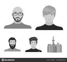 眼鏡とひげ髭の男髪型の男の出現でハゲ男の顔顔と外観モノクロ