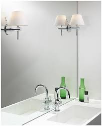 roma bathroom wall light with polished chrome arm and white opaque conical shade