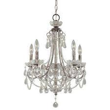 5 light distressed silver mini chandelier