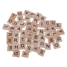 100pcs Alphabet Block <b>26 English Letters</b> Printed Wood Chips ...