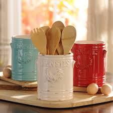 Kitchen Utensil Holder White Vintage Rooster Utensil Holder Turquoise Red Green And