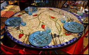 48 round glass mosaic table ottoman tulips