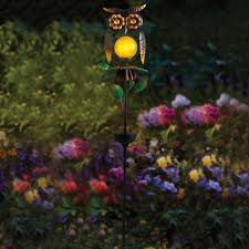 watchful perched owl outdoor solar powered led color changing garden light stake