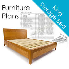 Storage Bed Plans King Size Platform Bed No. 2 Measured   Etsy
