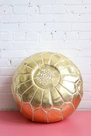 gold pouf  moroccan ottoman footstool  gold vegan faux leather